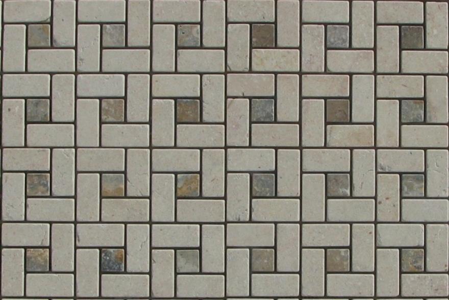 Мозаика каменная -  Мозаика Травертин Спираль Бежевый,зелёный