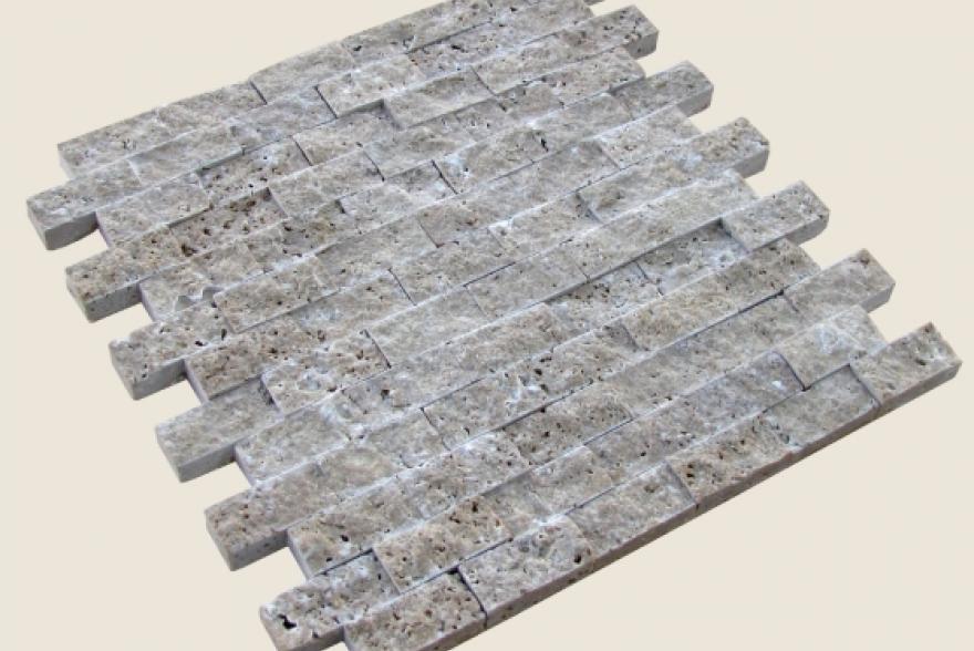 Мозаика каменная - Мозайка Травертин тёмно-бежевый