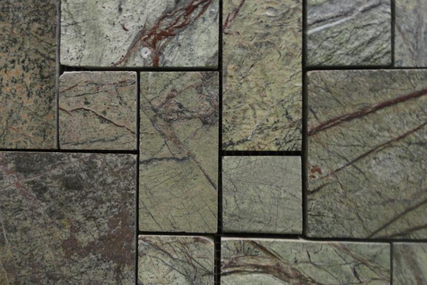 Мозаика каменная - Мрамор Forest Green четырехугольники